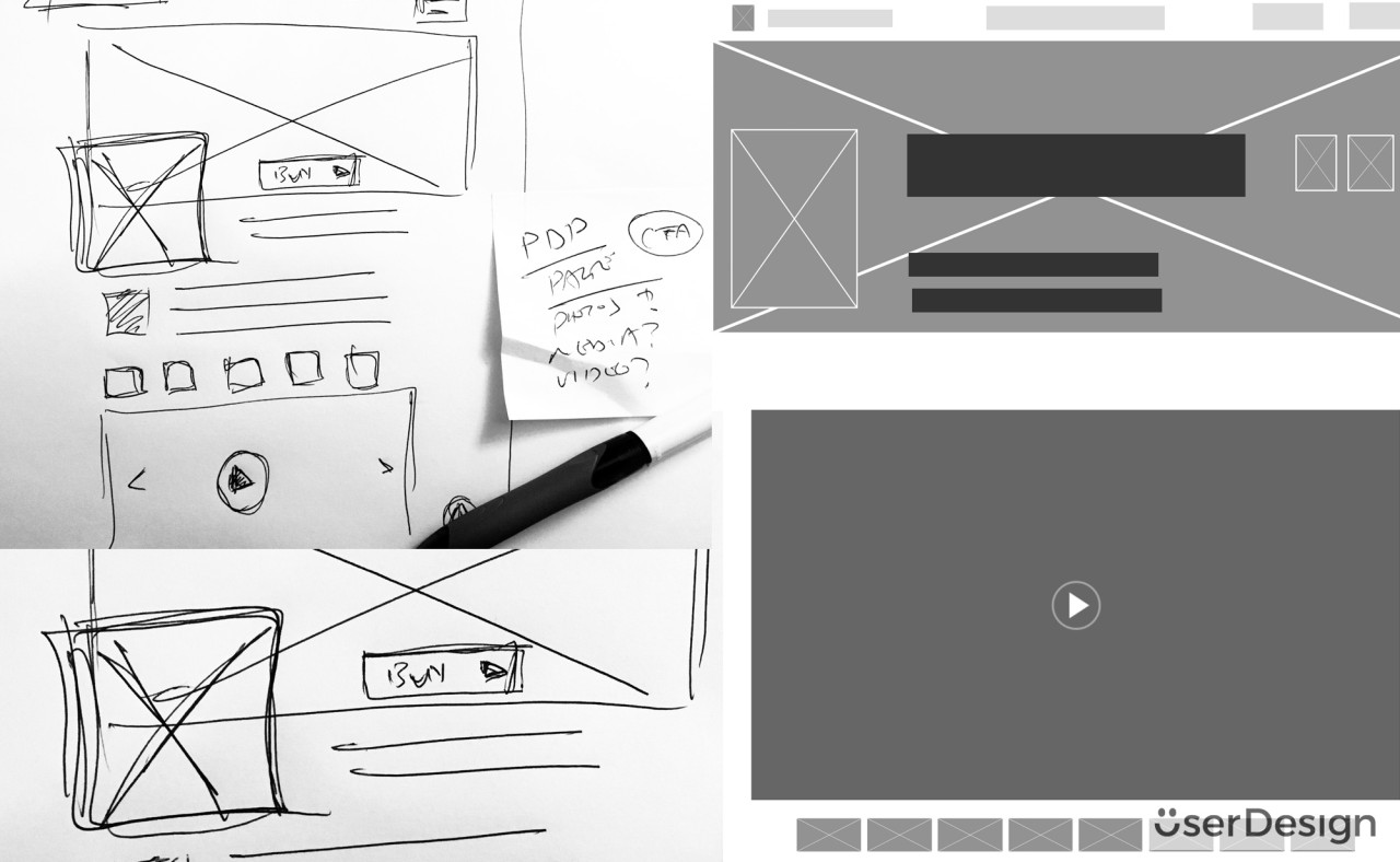 Sketch / wireframe concepts for product page